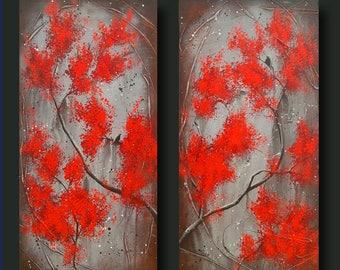 Red Trees, Bird on Branch, Asian Inspired, Zen Art, Japanese Cherry Blossom Tree, 12x24 each Secret Garden Encounter