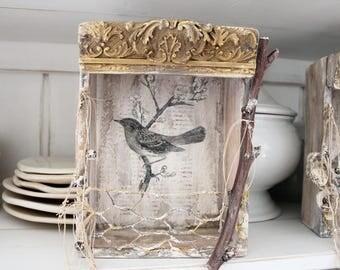 FRENCH BIRD Nesting Box, Vintage Salvage wood, Shrine, French Ephemera, Mixed Media, Shadow box, Jeanne d Arc Living style, Cottage.