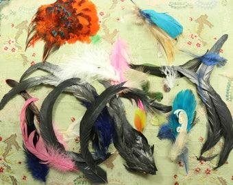 Antique vintage feather pieces metallic lot old plume pieces millinery feather trim 1920s hat cloche bonnet black curled