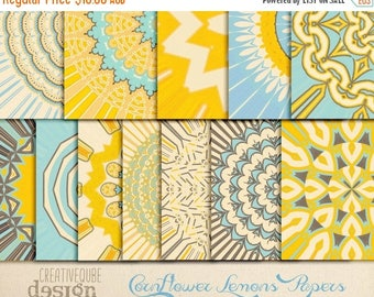 80% Off SALE Digital Papers Lemon Yellow and Cornflower Blue Geometric for Personal Use and Small Commercial Use