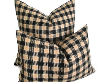 Wool Plaid Pillow Cover Black & Camel Zipper 18 x 18 and 12 x 18 ready to ship