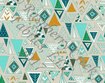 Tan Mint Teal Olive and Mustard Geometric Triangles 4 Way Stretch FRENCH TERRY Knit Fabric, Moody by Kimberly Henrie for Club Fabrics