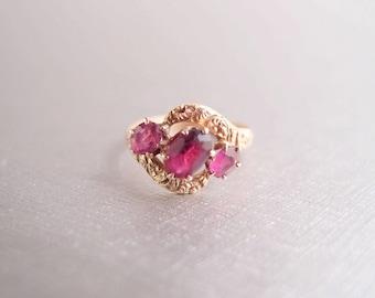 antique Georgian 10K Gold Ring 1830s pink Ruby Garnet paste 3 stone Midi Pinky Ring size 4