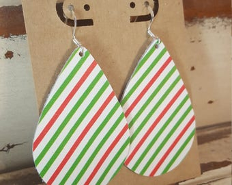 Leather Earrings, Leather Jewelry, Christmas, Red, Green, Holiday, Stripes, Statement Earrings, 100% Leather, Tear Drop, Lightweight-Limited