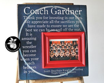 Wrestling Coach Gift, End of Season Team Gift, Personalized Team Photo Gift, Wrestling Mat 16x16 Sugared Plums Frames