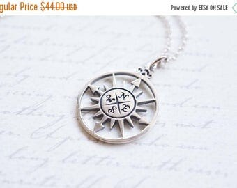 SALE Necklace, Compass Necklace, Silver Necklace, Compass Rose, Rose Necklace, Sunburst Necklace, Handmade Necklace, Gift for Her, Graduatio