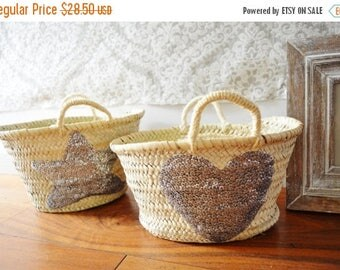 10% OFF Summer SALE // February Trend- Kids Basket Panier Silver-great for Storage, nursery, beach, picnic, holiday, Marrakech Basket Bag