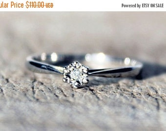 ON SALE White Gold Diamond Ring Solitaire Wedding Engagement Anniversary 9ct Ladies FREE Shipping Size O.5 / 7.5