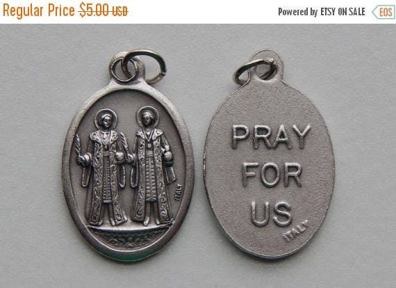 CLOSING SALE 5 Patron Saint Medal Findings - Cosmas and Damian, Die Cast Silverplate, Silver Color, Oxidized Metal, Made in Italy, Charm, Dr