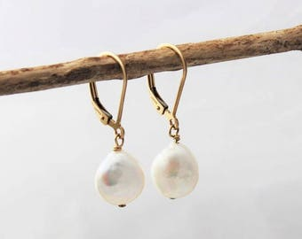 coin pearl leverback earrings, gold or silver, classic pearl earrings, simple every day jewelry, bridesmaid jewelry, malisay designs