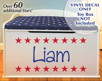 Personalized Toy Chest Vinyl Decal, Childs Custom Name Toy Box Decal Accented with Stars, Red White Blue or any Color (0179c73v)