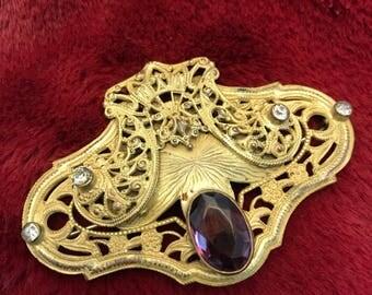 Edwardian Costume Amethyst glass brooch