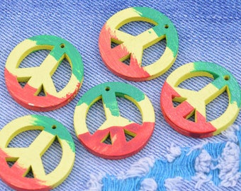 20 hand Painted wooden drops, Colorful painted wooden Peace sign pendants, Natural finished Peace symbol charms, earring wooden drops 30mm