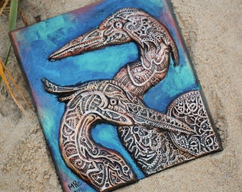 Heron Harmony Stone Art, Garden Art Plaque, Waterfowl Sculpture, Outdoor Wall Art, Bird Sculpture, Great Blue Heron Gift