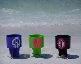Personalized Drink Holder Sand Spike Great for the Beach, Brides Maides gift, Birthdays, NEW COLORS
