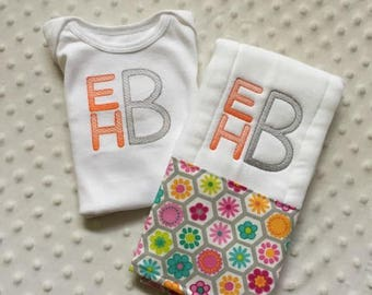 Baby Girl Personalized 2 Piece Gift Set  - Bodysuit and Burp Cloth-