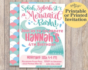 Mermaid Invitations, Teal Mermaid Birthday Invitation, Mermaid Birthday Party Printable, Mermaid Birthday Under the Sea Party Invitations