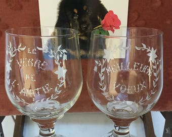Pair Vintage French Friendship Glasses