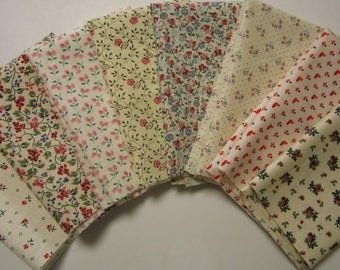 8 Light Tone Floral Calico Cotton Fabric Scraps Fat Sixteenths Quilting, Sewing