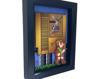 Zelda 2 Art The Adventure of Link Video Game Art Nintendo 3D Art 1980s Print Artwork Zelda 2 Video Game Art Nintendo Cartridge