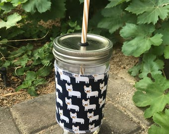 Cute frenchies sleeve straw lid DIY mason jar tumbler