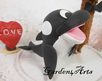 NEW--Custom Wedding Cake Topper--Love orca and llama couple with circle clear base
