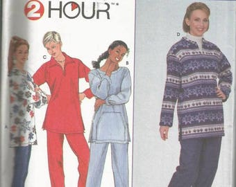 Pullover Top Loose Fitting Four Styles & Pull On Pants Simplicity 9933 Uncut FF Sizes 18-20-22 Bust 40-42-44 Women's Sewing Pattern
