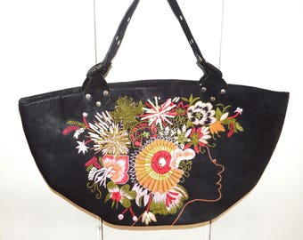 Unusual Vintage Handbag/ Large Ultrasuede/ Microfiber/ Boho with Lady's Face/ Appliqued and Embroidered