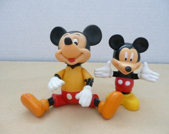 TWO Plastic Jointed Mickey Mouse Toy, Made in Hong Kong - Poseable Mickey Mouse