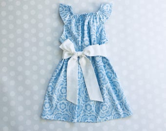 Light Blue Lace Print Dress - Baby Girl Dress - Girls Dresses - Sleeveless Dress - Easter Dress - Spring Dresses - Blue Dress - Handmade
