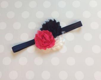 Peony Pink, Navy and White Headband