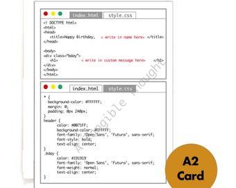 HTML CSS Computer Code - Web Development Programmer - Happy Birthday Card - Blank Greeting Card