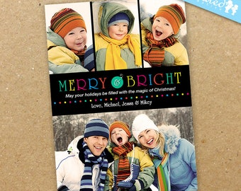 Modern Christmas Photo Card, Cheerful Picture Collage Holiday Card, Bright Colors - DiY Printable, Print Service Available || Merry + Bright
