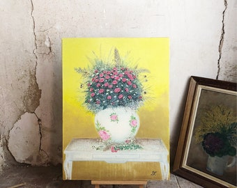 Vintage Floral Bouquet Oil Painting / oil painting on canvas / nature floral painting / still life painting / vintage french art