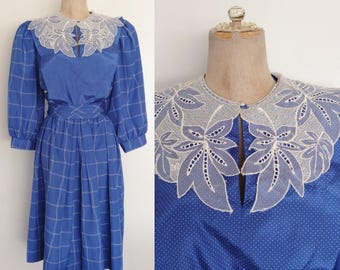 1980's Royal Blue Grid Print Dress with Lace Collar Size Small Medium by Maeberry Vintage