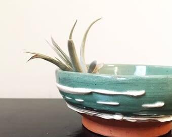 Handmade Slip Glazed Pottery Bowl