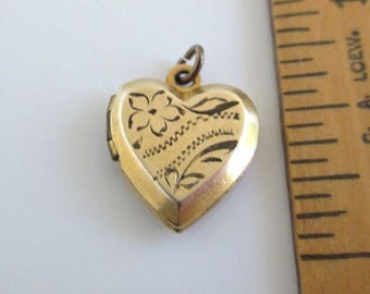 Heart Picture Locket Charm or Small Pendant- Antique Floral Etched, BLN on Back - Extra Small