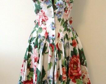 Vintage Summer Dress Garden Party Tea by Karen Alexander Size 4 Gorgeous