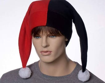 Image result for red and black fools hat