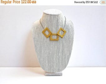 CIJ SALE Yellow Wood Necklace, Geometric Modern Wooden Beads with silver Chain and Lobster Clasp
