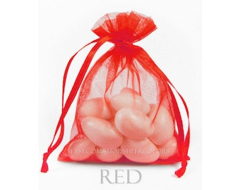 10 Bright Red Organza Bags, 5 x 8 Inch Sheer Fabric Favor Bags