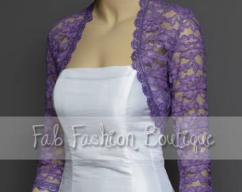 Lilac 3/4 sleeved lace bolero jacket shrug Size S-XL, 2XL-5XL