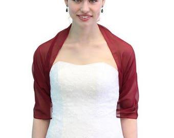 Summer Sale Silk Feel Chiffon Bridal Wrap Wedding Stole - Burgundy 8139CH on Spring Sale