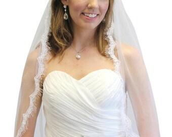 7 Days Sale Bridal Veil, Alencon Lace Fingertip Veil, Scallop Lace Veil, Wedding Veil #60271