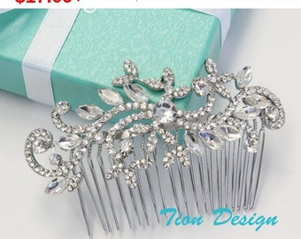 7 Days Sale Wedding Hair Comb, Bridal Comb, Vintage Rhinestone Hair Comb Bridal Jewlery HC-11 Free US Shipping