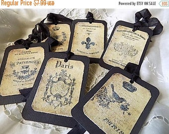 French Inspired Hang Tags Cottage Chic Gift Tag Black Beige