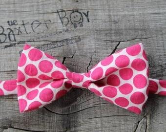 Ready-to-Ship ---- SIZE MEDIUM Fushia Pink polka dots little boy bow tie - photo prop, ring bearer, wedding