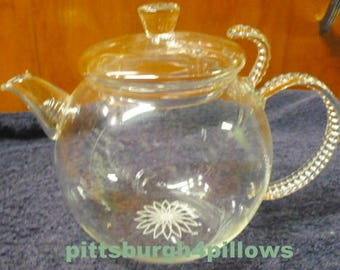 Teaposy - Daydream - Petite Mini Tea Pot W / Loose Leaf Filter - Clear Borosilicite Glass - 6.4 x 6.2 x 5.7 - EUC- Too Cute