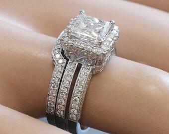 14K white gold princess cut moissanite and diamond engagement ring and band Bridal Wedding Halo Natural Diamonds 2.50ct