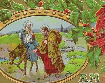 Embossed Vintage Christmas Postcard Mary and Joseph Transport Baby Jesus by Donkey Red Poinsettia and Holly Accents